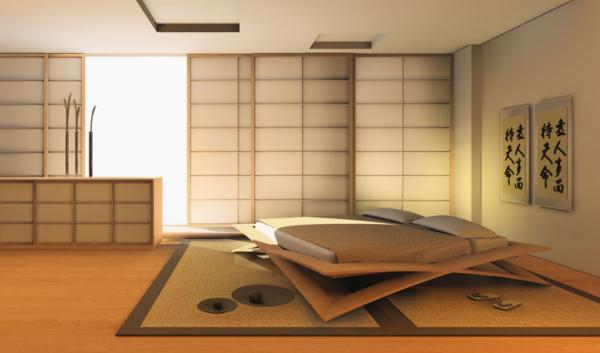 Интерьер спальной комнаты в японском